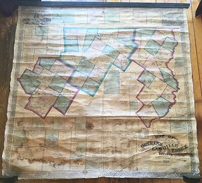 "Large 1859 Orleans Lamoille Essex VERMONT Linen Wall MAP H.F Walling 4'9"" x 4'9"""