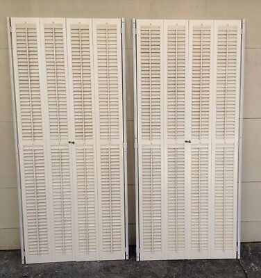 "72"" TALL X 31"" Wide VTG Colonial Wood Interior Louver Plantation Window Shutters"