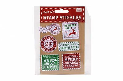 Pack of 12 Christmas Stamp Stickers