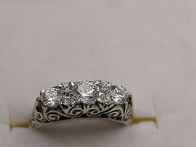 silver and crystal ring