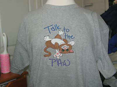 New  Talk To The Paw Cat Embroidered T-Shirt Purrfect Gift