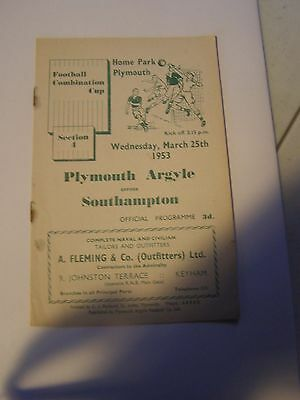 Plymouth Argyle res v Southampton reserves Combination Cup  52/3 programme
