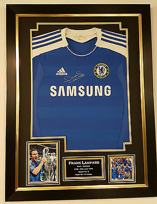 * Rare Frank Lampard of Chelsea Signed Shirt Autograph Display *CHAMPIONS LEAGUE