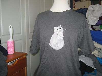 NEW  WHITE LONG HAIRED CAT EMBROIDERED T-SHIRT ADD NAME FOR FREE medium