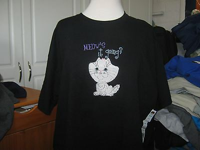 New  Meow's It Going Cat Embroidered T-Shirt Purrfect Gift