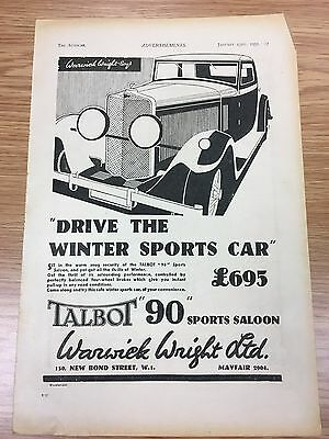 Rare 1931 TALBOT 90 Sports Saloon A4 Vintage B&W Car Advert L1