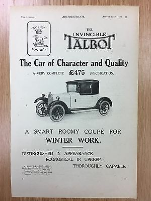 Rare 1922 TALBOT A4 Vintage B&W Car Advert L2