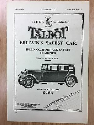 Rare 1930 TALBOT A4 Vintage B&W Car Advert L6