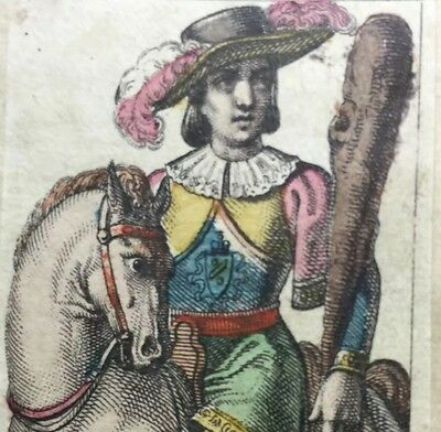 c1835 Knight of Batons Classical Tarot Playing Cards Italy Engraved Single+COA