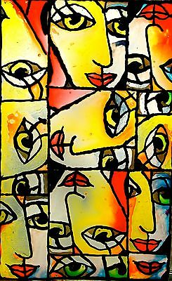 "Picasso Style Stained Art Glass Painted Cubist Window Panel17""x27"" Eclectic Cool"