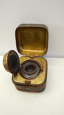 Traveling inkwell leather brass glass square thumb release antique travel