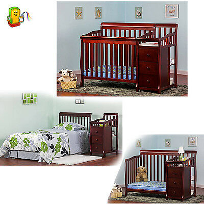 4 in 1 Convertible Bed Baby Toddler Crib Changer Nursery Furniture Cherry