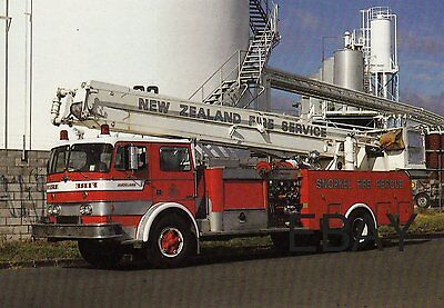 A 1971 International Snorkel with The'New Zealand Fire Service Postcard