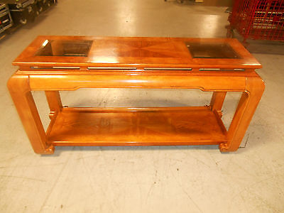 Mid-Century Modern Floating Top w Beveled Glass Inserts Console Sofa Table