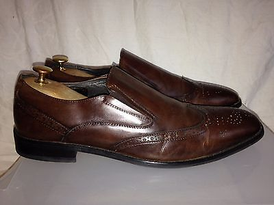JOHN WHITE England Size 11 Men's brown leather slip on brogues shoes Eur 46