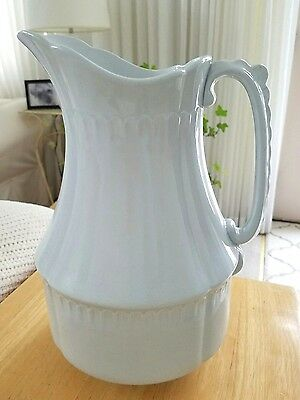 """Antique WHITE Ironstone PITCHER J & G MEAKIN Eastwood Works HANLEY ENGLAND 12"""""""
