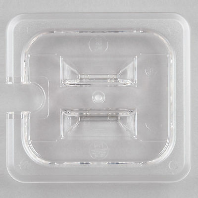 12 PACK 1/6 Size SPOON FOOD PAN LID Clear Plastic Steam Prep Table Slotted