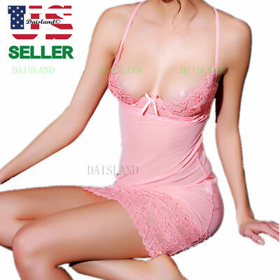 Women's Intimate Lace Lingerie Robe Sleepwear Underwear G-string Babydoll Dress