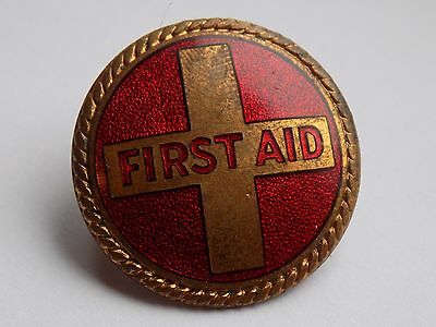 Vintage Unknown Red Enamel FIRST AID Cap Badge - Twin Lug Fitting on Rear