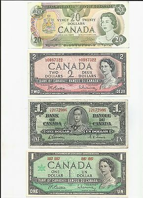 Canada Currency $24FV Lot of 4 Notes $1 $2 $20 1937/1954/1967/1979 (#3924)