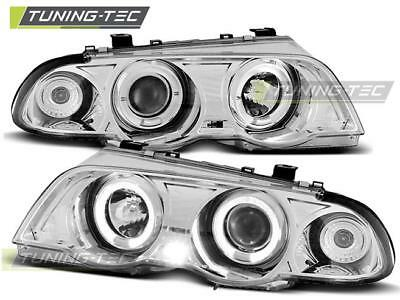 Coppia Fari Anteriori Bmw E46 05.98-08.01 Angel Eyes Chrome Look