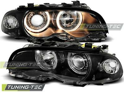Coppia Fari Anteriori Bmw E46 04.99-08.01 Coupe Cabrio Angel Eyes Black Look