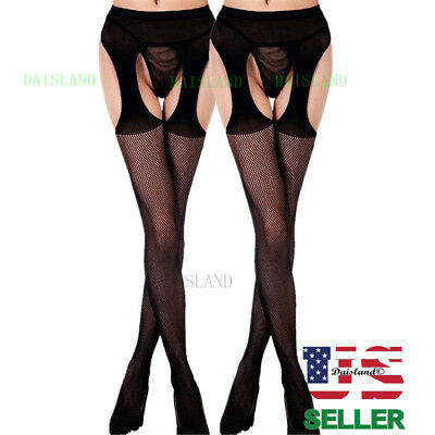 Hot Women Mesh Lingerie Garter Belt Fishnet Thigh High Stocking Lace Pantyhose