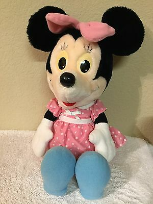 """DISNEY Minnie Mouse Plush  PINK DRESS VINTAGE Stuffed Animal Toy~14"""" COLLECTIBLE"""