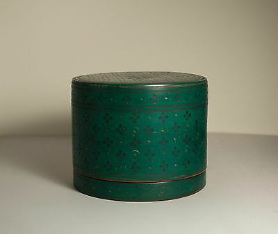 Very rare late 19th/early 20th century green Burmese lacquerware betel box