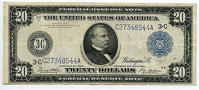 $20 Dollar 1914 Federal Reserve Large Size Note Philadelphia PA Very Fine AA0359