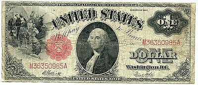 $1 1917 Legal Tender US Large Size Note Elliot White Fine AA0346