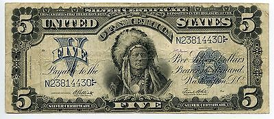 $5 Dollar 1899 Silver Certificate Chief Large Size Note Very Fine + AA0340