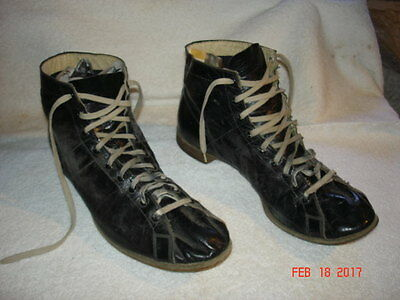 VTG 1930s- 40s LEATHER BOXING SPARRING WRESTLING ATHLETIC SHOES BOOTS BLACK