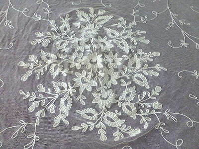 Antique Belgian Lace Tambour Lace Net Tablecloth STUNNING