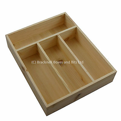 Pine Wood Cutlery Tray / Drawer - 4 compartment - wooden BPU102