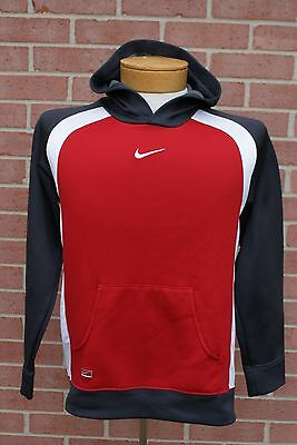 Nike Performance Youth L Boys Hoodie Sweatshirt Gray Red White Size L (14-16)