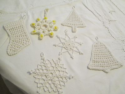 5 Hand Crochet Christmas Ornaments Starched Snowflake Bell Tree Boot White Large