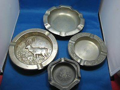 Lot of 4 Antique German Embossed & Engraved Solid Pewter Ashtrays Very Nice