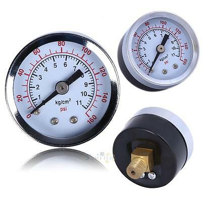 "1/8"" NPT Air Compressor Pressure Hydraulic Gauge Back Mount 1.5"" Face 0-160 PSI"