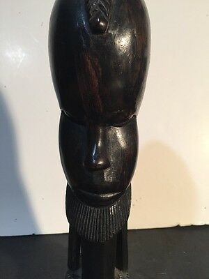 VINTAGE AFRICAN HAND CARVED ANTIQUE Male WOODEN BUST WITH BRAIDS TANZANIA