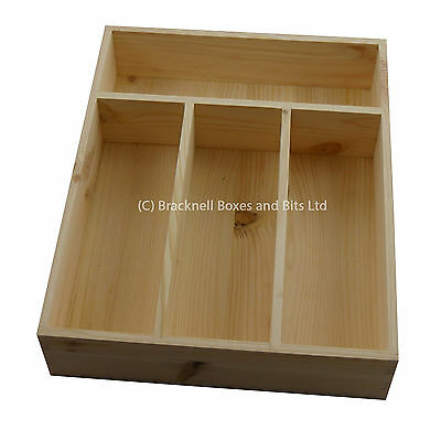 Natural Pine Wood Cutlery Tray / Drawer Tidy - 4 compartment - Wooden BPU102