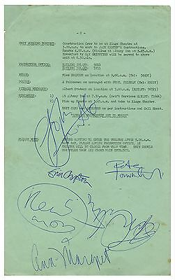 The Who Tommy Movie RSO Call Sheets Signed Keith Moon Eric Clapton Ann Margaret!