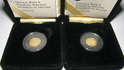 IRELAND - CELTIC COIN + SKELLIG MICHAEL - 2x 20€ - 2x 1/25 Oz Gold PROOF - 999
