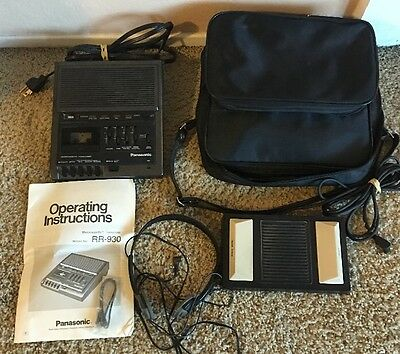 Panasonic Microcassette Transcriber Recorder Model RR930 with pedal Instructions