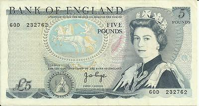 Bank of England 5 Pounds Note Sign J B PAGE 60D 232762 V/F.