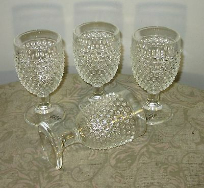 """L E Smith Hobnail Goblets Clear glass 6"""" tall  lot of 4"""