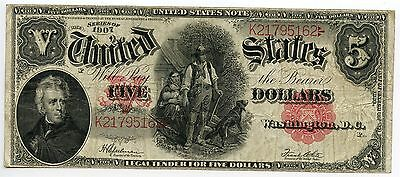 $5 Dollar 1907 Legal Tender US Large Size Note Speelman White Fine to VF AA0364