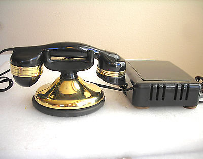 Automatic Electric Solid Brass Monophone #38 Handset & Subset Antique Telephone