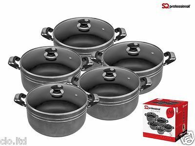 SQ NON STICK COOKING/CASSEROLE  POT SET WITH GLASS LIDS. 5 pieces set, 18-26 cm
