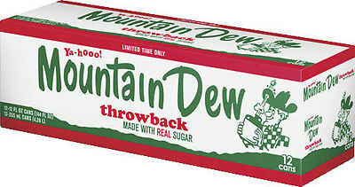 Mountain Dew Throwback - AMERICAN IMPORT SODA RARE - 12 Pack (12x 355ml cans)